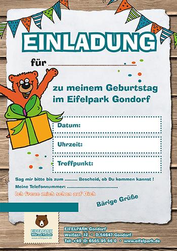Einladung Kindergeburtstag Eifelpark | Motiv 1
