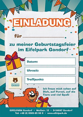 Einladung Kindergeburtstag Eifelpark | Motiv 2