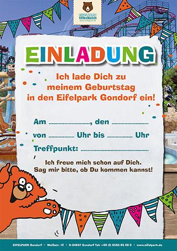 Einladung Kindergeburtstag Eifelpark | Motiv 4