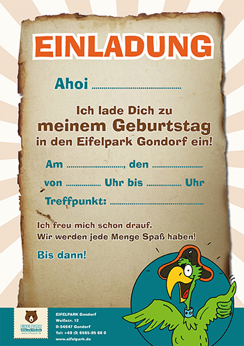 Einladung Kindergeburtstag Eifelpark | Motiv 5