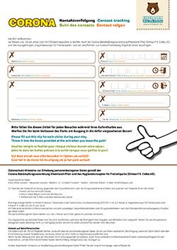 Formular zur Kontaktnachvervolgung
